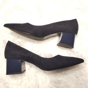 ZARA navy block heels